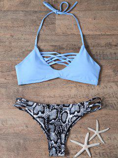 Ensemble De Bikini En Treillis Et Bas Imprimé Peau De Serpent - Bleu S
