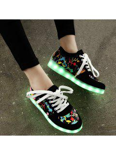 Led Luminous Multicolor Athletic Shoes - Black 39
