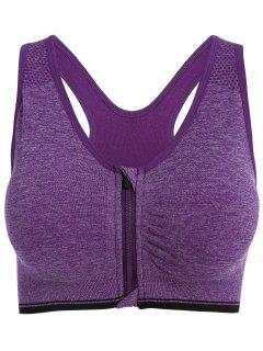 Zipper Padded Sports Bra - Purple S