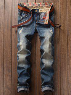 Slim Fit Destroyed Straight Jeans - Light Blue 38