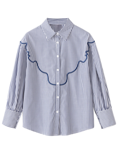 Wave Embroidered Striped Shirt - Stripe S