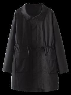 Manteau Trench Avec Poches Et à Taille Coulissée - Noir Xl