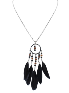 Beads Bohemian Feather Necklace - Black