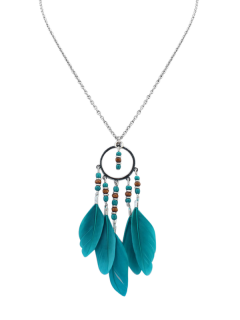 Beads Bohemian Feather Necklace - Blue