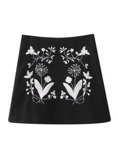 Ethnic Floral Embroidered A-Line Skirt - Black M