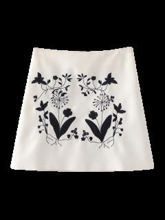 Jupe Trapèze Brodée De Motifs Floraux Ethniques - Blanc S