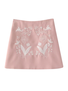 Ethnic Floral Embroidered A-Line Skirt - Pink S