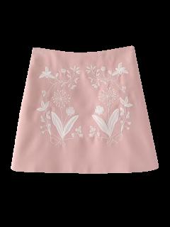 Jupe Trapèze Brodée De Motifs Floraux Ethniques - Rose PÂle S