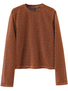 Jewel Neck Long Sleeve Tee - Brown S