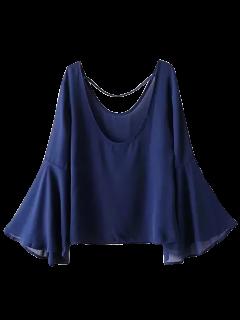 Flare Cadena De La Blusa De La Manga - Azul Marino  M