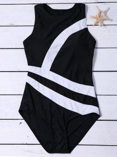 Costume De Bain Couleur En Bloc à Zip - Noir 2xl