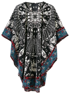 Tribal Print Oversized Kimono Dress - Multicolor L