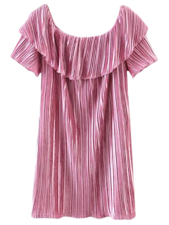 Off The Shoulder Crushed Velvet Mini Dress - Pink L