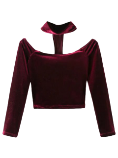 Crop Top En Velours Avec Collier Ras Du Cou à Dos Nageur  - Rouge Vineux  M