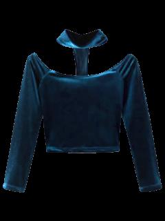 Crop Top En Velours Avec Collier Ras Du Cou à Dos Nageur  - Paon Bleu S