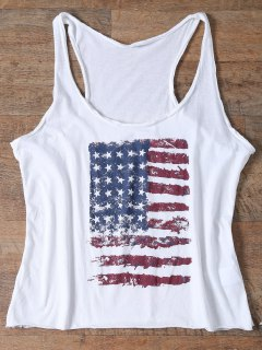 American Flag Print Tops - White L