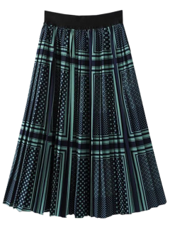 Patterned Pleated A Line Skirt - S
