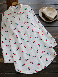 Leaf Printed Linen Pocket Shirt - White