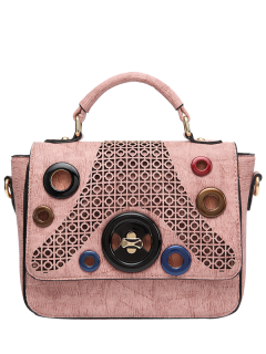 Hollow Out Cross Body Handbag - Pink