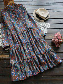 Robe Boutonnée Imprimée Fleur Manche Longue - Multicouleur