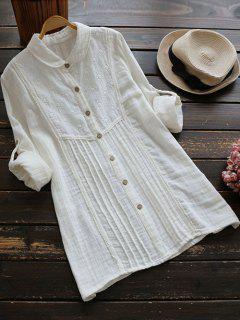 Camisa Bordada Jaretas Túnica - Blanco