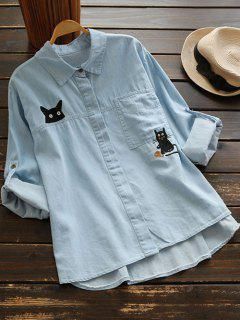 Cat Embroidered Chambrary Shirt - Light Blue
