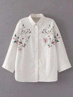 Chemise Ample à  Col Brodée Florale - Blanc M