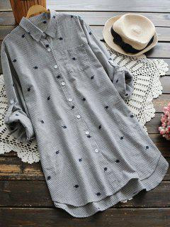Chemise à Rayures Brodée à Motif De  Feuilles Avec Poches - Gris