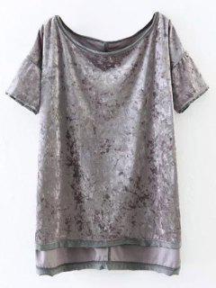 T-shirt En Velours Avec Incisions Haut-bas - [
