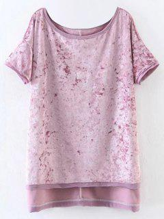 Slit High Low Velvet T-Shirt - Pink M