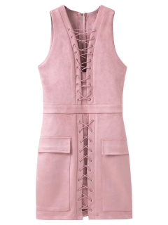 Suede Lace Up Bodycon Vest Dress - Pink L