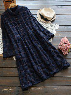 Buttoned Plaid Long Sleeve Dress - Purplish Blue