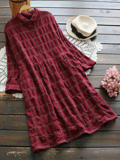 Buttoned Plaid Long Sleeve Dress - Dark Red