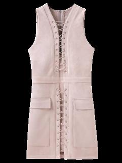 Robe Gilet Moulante Lacée Haut En Suédé - Beige Léger S