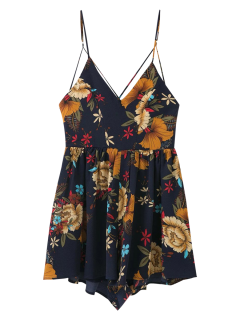 Cross Back Floral Cami Romper - Purplish Blue L