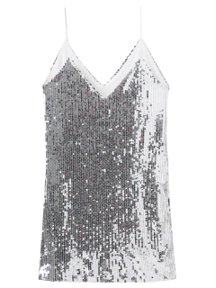Plunging Neck Sequins Cami Dress - Silver S