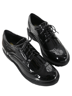 Faux Leather Wingtip Shoes - Black 39