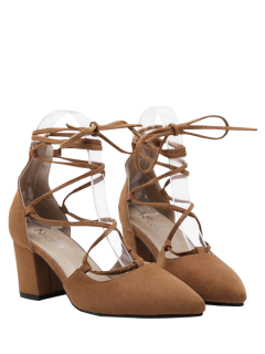 Block Heel Tie Up Pointed Toe Pumps - Brown 39