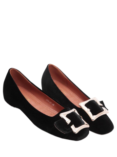 Velvet Square Toe Buckle Strap Flat Shoes - Black 39