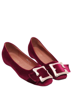 Velvet Square Toe Buckle Strap Flat Shoes - Red 39