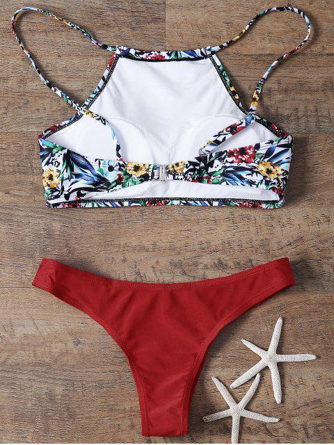 fashion High Neck Printed Bikini - RED M Mobile