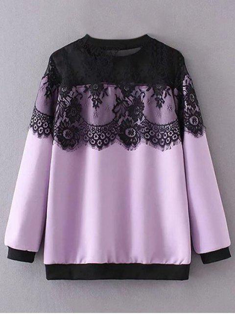 sale Sheer Shoulder Lace Insert Sweatshirt - LIGHT PURPLE 2XL Mobile