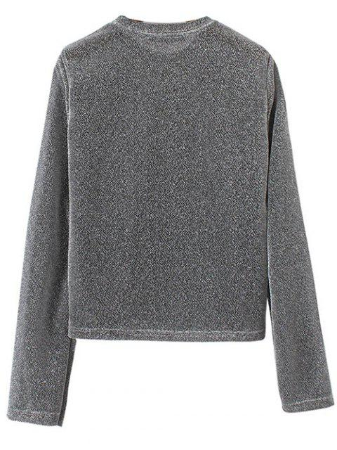 affordable Jewel Neck Long Sleeve Tee - GRAY M Mobile