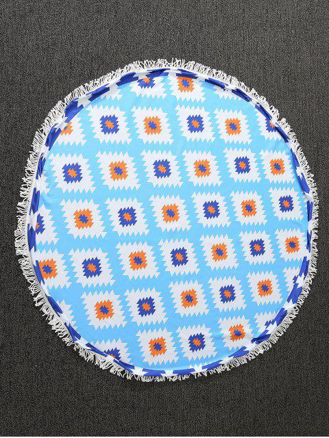 Serviette ronde de plage imprimée de motifs géométriques - Bleu TAILLE MOYENNE Mobile