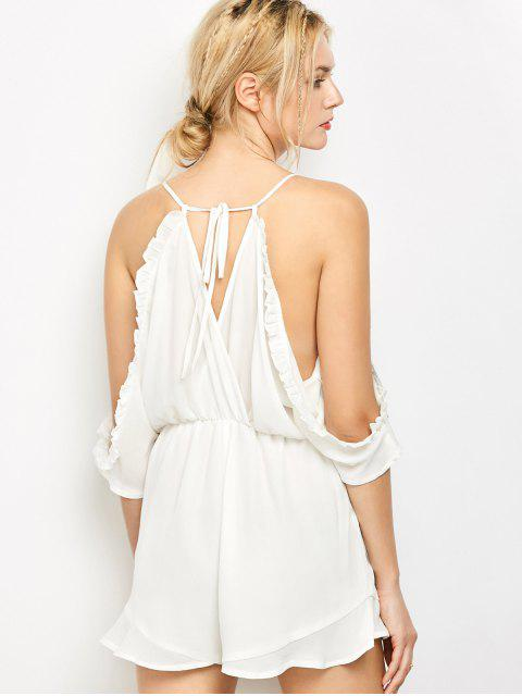 latest Embroidered Surplice Cami Romper - WHITE M Mobile