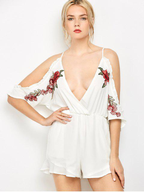 trendy Embroidered Surplice Cami Romper - WHITE S Mobile