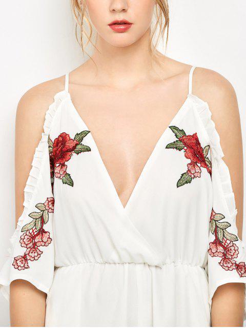 shops Embroidered Surplice Cami Romper - WHITE L Mobile