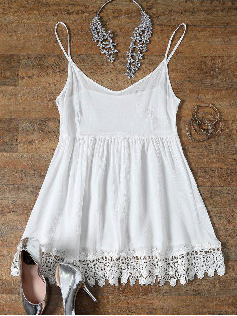 ladies Spaghetti Strap Low Cut Lace Spliced Dress - WHITE M Mobile