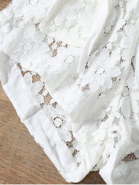 Combishort de Couverture à Col en V Profond en Crochet Fleurs - Blanc S Mobile