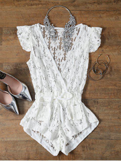 ladies Deep V Neck Crochet Flower Romper Cover-Up - WHITE S Mobile